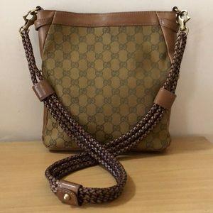 Authentic Gucci canvas monogram braided crossbody